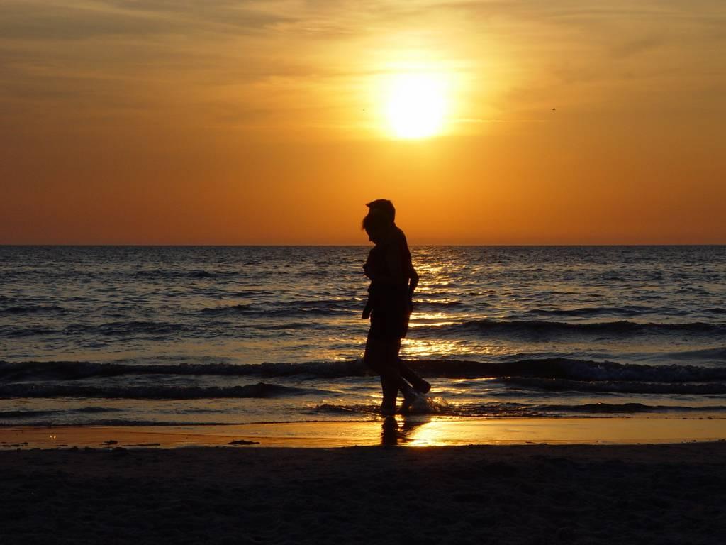 St. Peter-Ording Ferienwohnung Hund: Abendstimmung am Strand